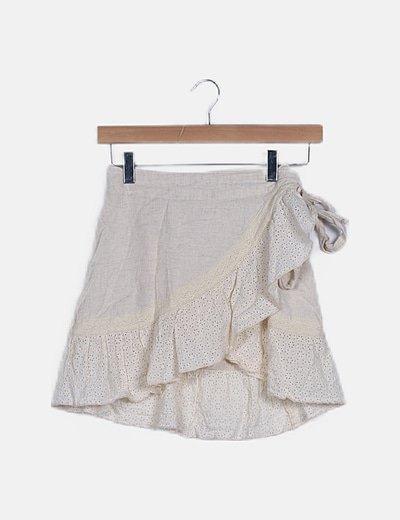 Falda mini beige guipur