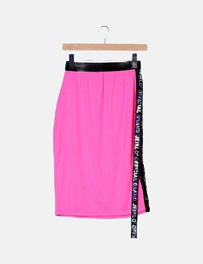 Falda mini rosa flúor
