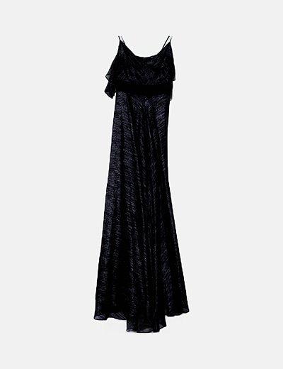 Vestido maxi negro glitter