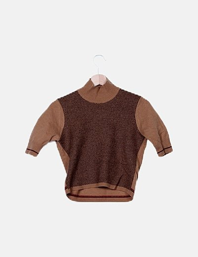 Camiseta tricot marrón