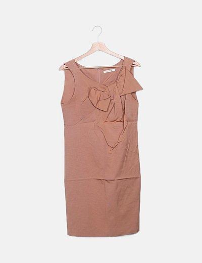 Vestido maxi nude detalle lazo