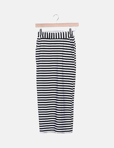 Falda midi rayas negras y blancas