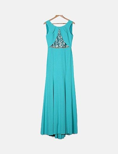 Vestido turquesa escote lentejuelas
