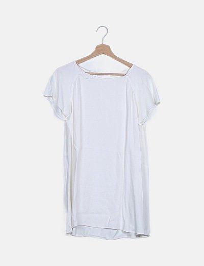Blusa satinada manga corta blanca