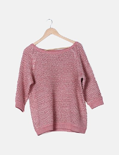 Jersey rosa de punto glitter