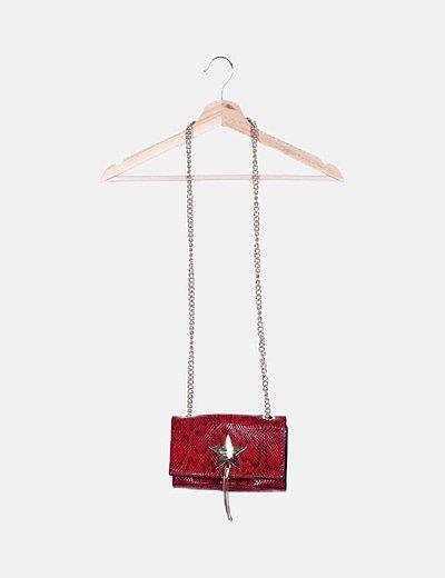 Bolso mini rojo estampado animal print