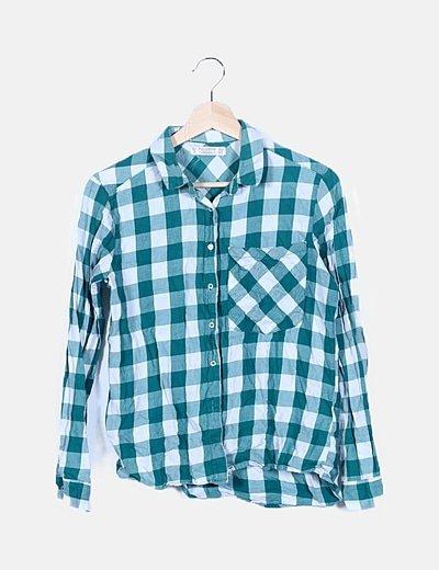 Camisa cuadros verde manga larga