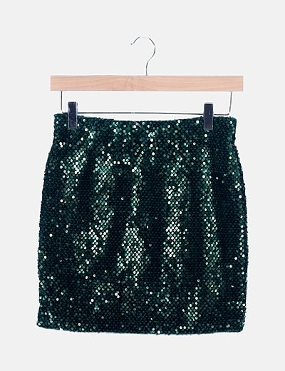 Falda mini verde paillettes