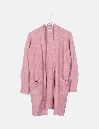 Cardigan putno rosa manga larga