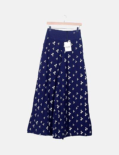 Pantalón ancho marino lino