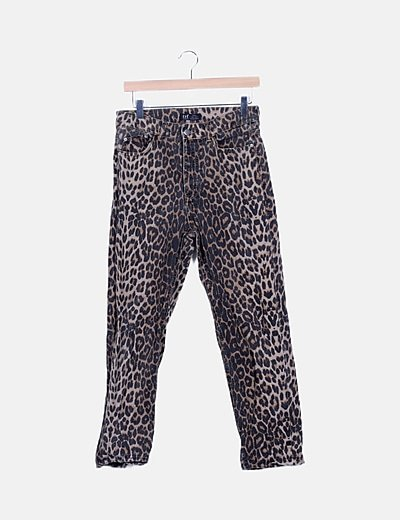 Jeans denim estampado animal print
