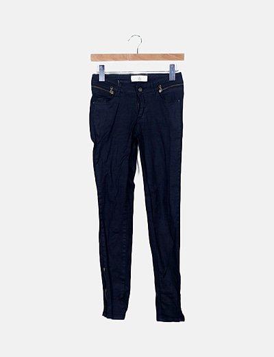 Jeans denim negro efecto encerado