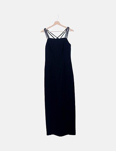 Maxi vestido negro detalle strass