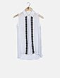 Blusa blanca encaje negro Clp