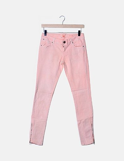 Jeans taupe cremallera bandas laterales