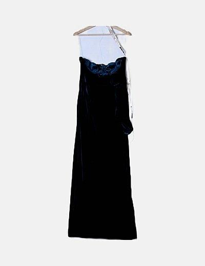 Vestido largo velvet azul petróleo