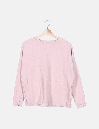 Sudadera rosa manga larga basic