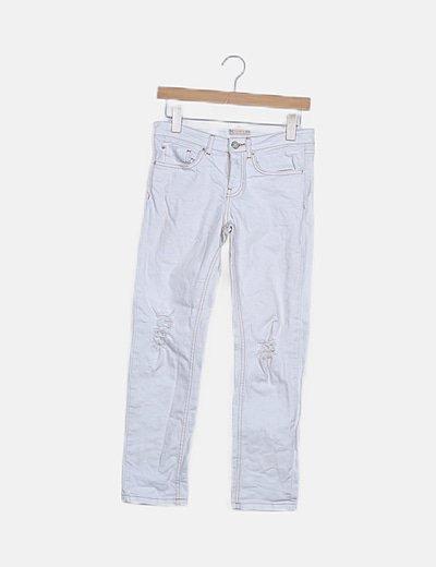 Jeans denim blanco ripped