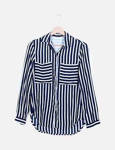 Camisa rayas azul marino manga larga