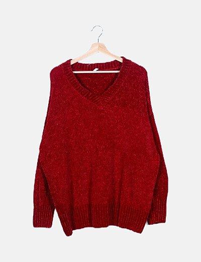 Jersey chenilla rojo oversize