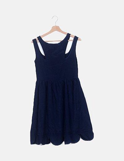 Vestido azul marino escote asimétrico