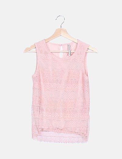 Blusa rosa crochet