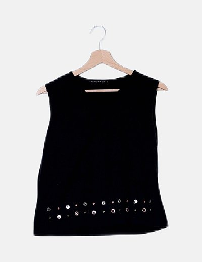 Camiseta tirantes negra con paillettes