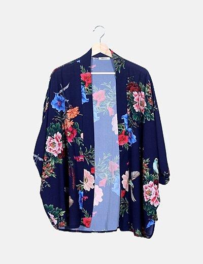 Kimono azul estampado floral