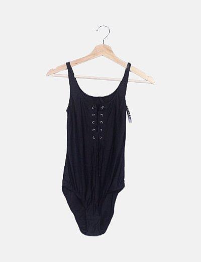 Bañador negro escote lace up