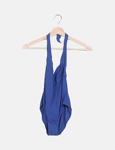 Bañador azul cuello halter