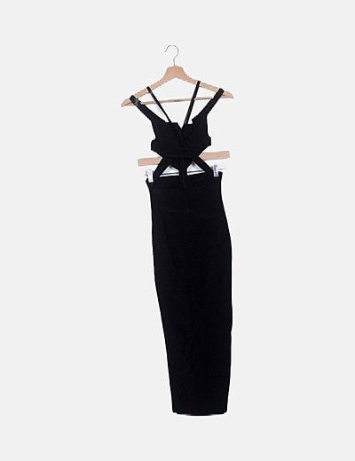 Vestido bandage negro largo