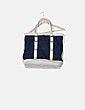 Bolso shopper azul marino combinado Zara