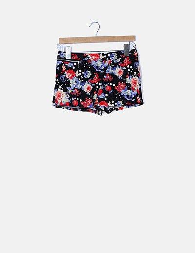 Falda pantalón negra estampado floral