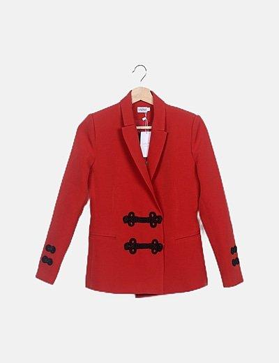 Blazer roja manga larga