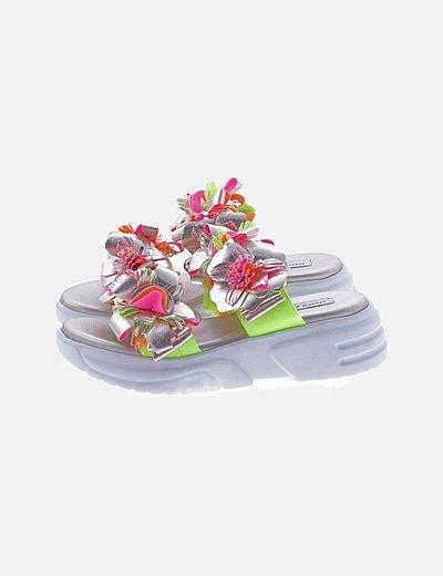 Sandalias flúor florales