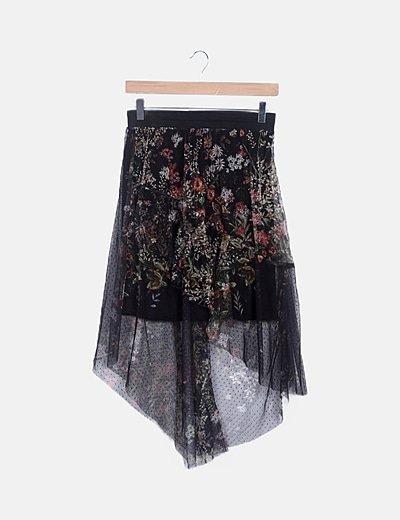 Mini falda combinada tul