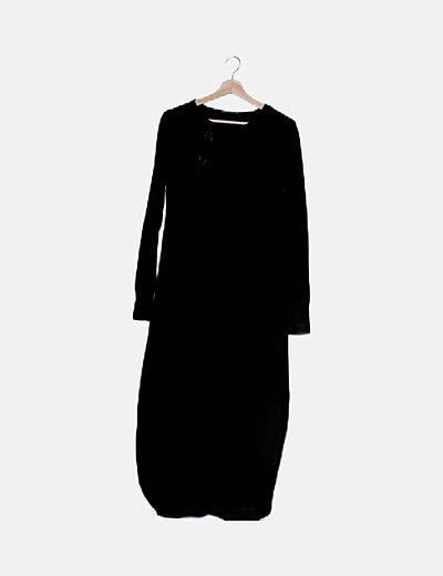 Vestido maxi negro con elástico