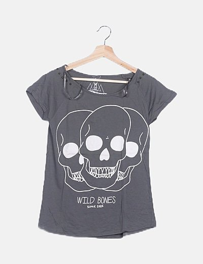 Camiseta gris print calaveras
