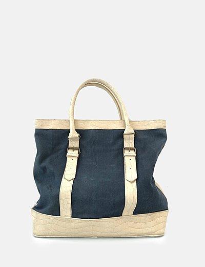 Bolso shopper azul marino combinado