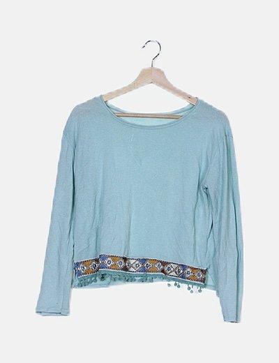Jersey tricot azul con borlas