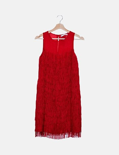 Vestido rojo flecos