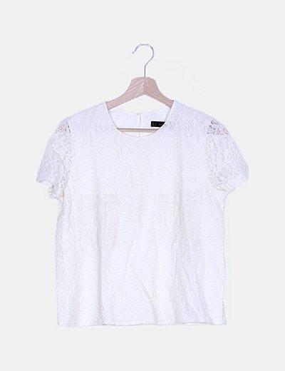 Camiseta de encaje beige