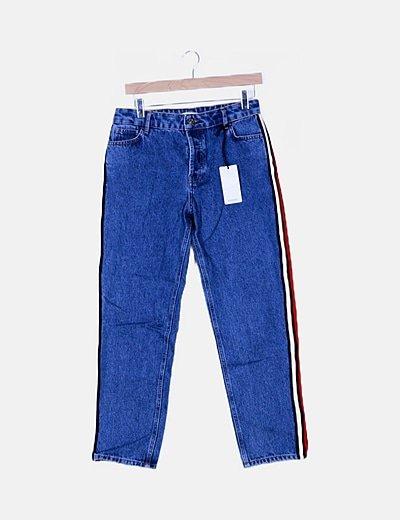 Pantalón denim banda lateral
