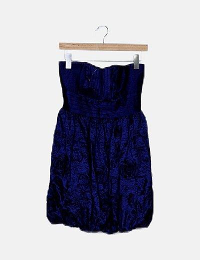 Vestido satén azul marino combinado