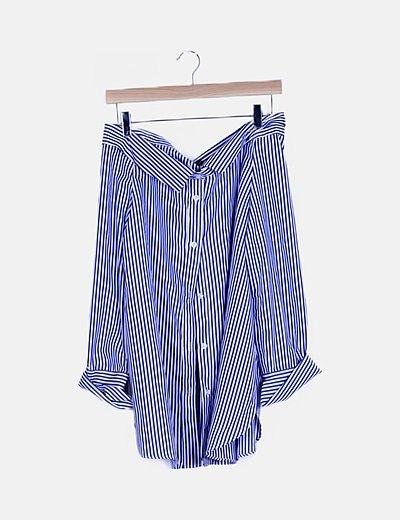 Vestido camisero rayas bicolor