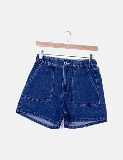 Short denim azul cintura elástica