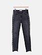 Jeans denim negro ribete lateral animal print Zara
