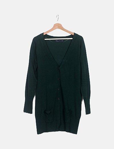 Chaqueta tricot verde oscuro