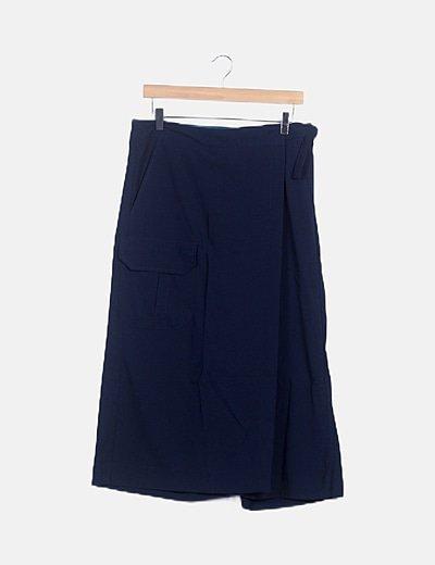 Falda pantalón azul marino fluido