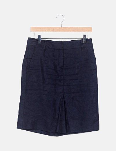 Falda azul marina encerada